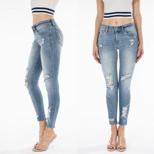 KANCAN KC8373M Mid Rise Light Wash Distressed Jean